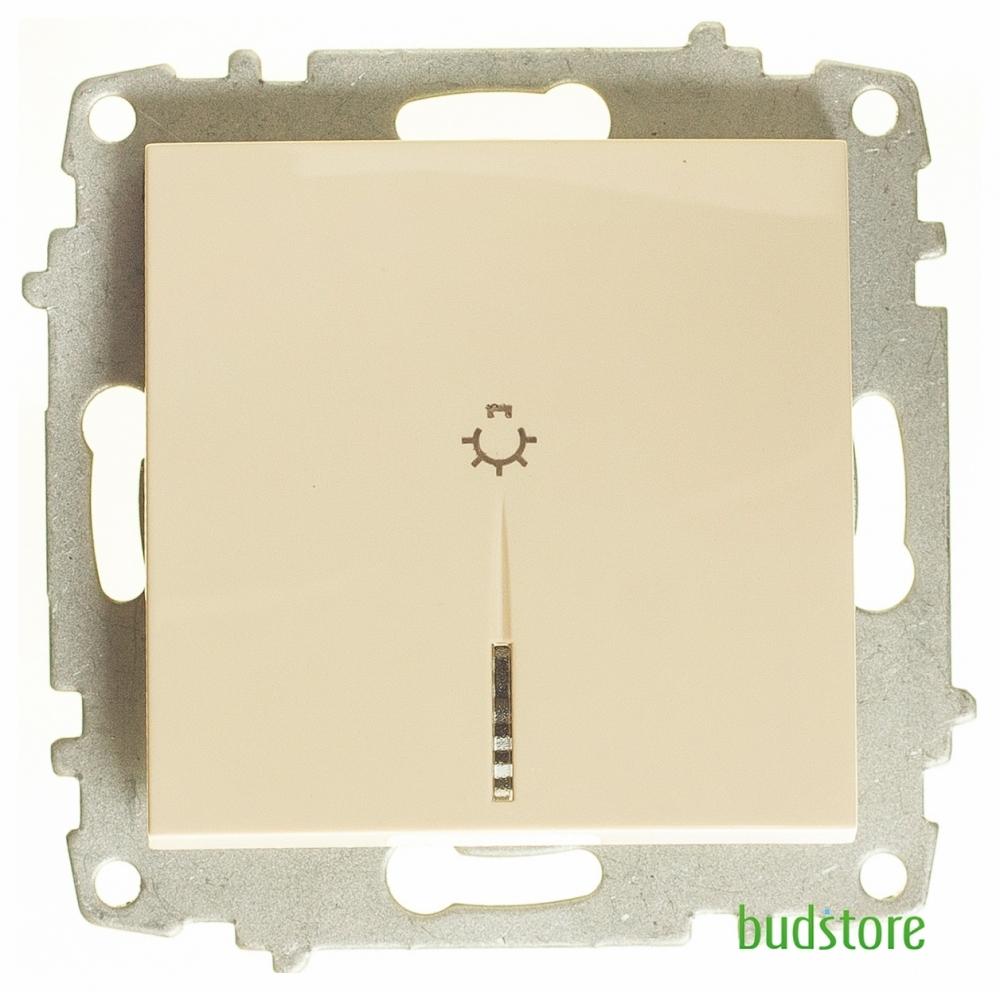 Выключатель кнопочный с подсветкой без рамки El-Bi ZENA (Ель-Би Зена) крем 609-010300-206